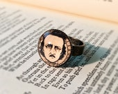 The Haunted Poet - Edgar Allan Poe - Glass Art Print Pendant Ring, Brass, 16 mm, Photo Pendant, Adjustable, Fashion Jewelry, Portrait