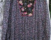 WINGED SHOULDERS Larger Sized Heavey Metal style Festival dress, 1980s maxi dress