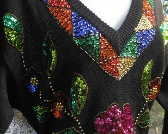 Christmas New Years Dress Sequin Cotton Ramie SEQUINED Sweater dress black dress CASUAL to COCKTAILS maxi dress, beaded dress, 1990s 90s