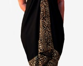 PLUS SIZE Clothing Sarong Batik Pareo - Women's Plus Size Beach Sarong - Extra Long Wrap Skirt or Dress - Black Swimsuit Cover Up - Swimwear