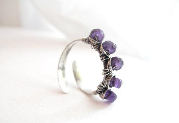 Amethyst Ring, Stack Ring, February Birthstone Ring, Gemstone Ring, Adjustable Ring