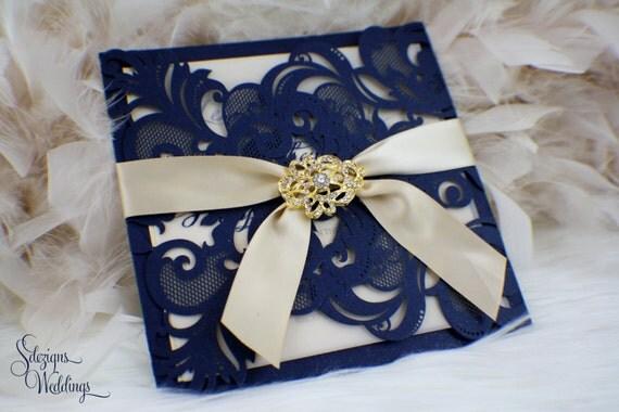 Laser Cut Flourish Wedding Invitation Suite Gold Broach – Navy Blue and Gold Wedding Invitations
