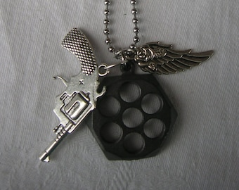 """Revolver, Necklace, 22"""", Stainless ball Chain, Rose, Angel Wing"""