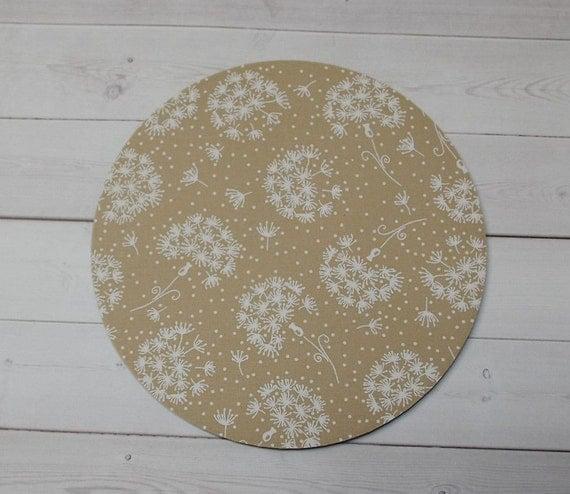 Dandelions mousepad / Mouse Pad / Mat round  - Dandelions - tan cream