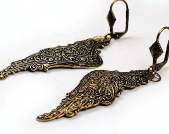 Steampunk Oxidized Brass Angel Wings and Watch Movement Gear Earrings