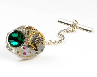 Steampunk Bulova Watch & Emerald Crystal Tie Tack Pin Chain Clip
