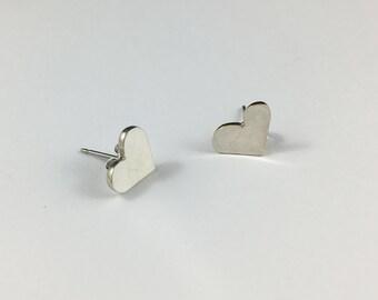 Heart Studs, Silver Heart Studs, Small Heart Studs, Silver Heart Earrings, Heart Earrings, Heart Jewelry, Wife Gift, Girlfriend Gift