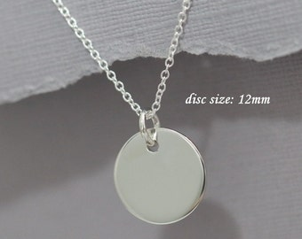 Sterling Silver Circle Necklace, Sterling Silver Plain Disc Pendant on Sterling Silver Necklace Chain