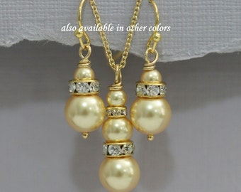 CHOOSE YOUR COLORS Swarovski Gold  Pearl Necklace and Earring Set, Gold Bridesmaid Jewelry Set