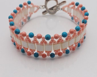 Beaded Bracelet-Coral-Turquoise-Cream - 7 inches Long- toggle clasp SKU: BR1012