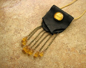 "Namaste black deerskin leather neck pouch with a glass charm,  2 1/2"" long chain fringe with Czech crystal beads, 34"" gold leather neck cord"