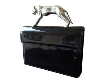 One of a kind Vintage Cougar Handle Black Patent Box Bag Clutch