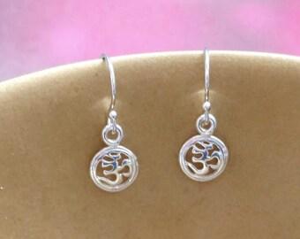 Om Earrings, Ohm Earrings, Yoga Jewelry, Sterling Silver, Zen, Spiritual, Jewelry, Gift for Her, Yoga, Om Symbol, Sanskrit