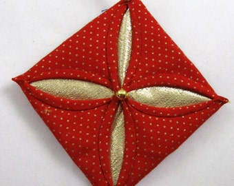 Red  and Gold Cathedral Window Quilted Christmas Ornament 136