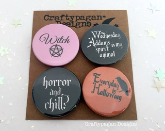 Spooky Pin Badges Gift Pack of 4/ Halloween Favors/ Badge Favours/ Wednesday Addams Badge/ Spooky Button Badges/ Samhain Badges Gift