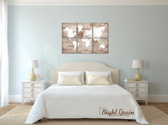 Large Office Map Wall Art - Vintage World Map Print - Custom Made Office Decor - Christmas Gift