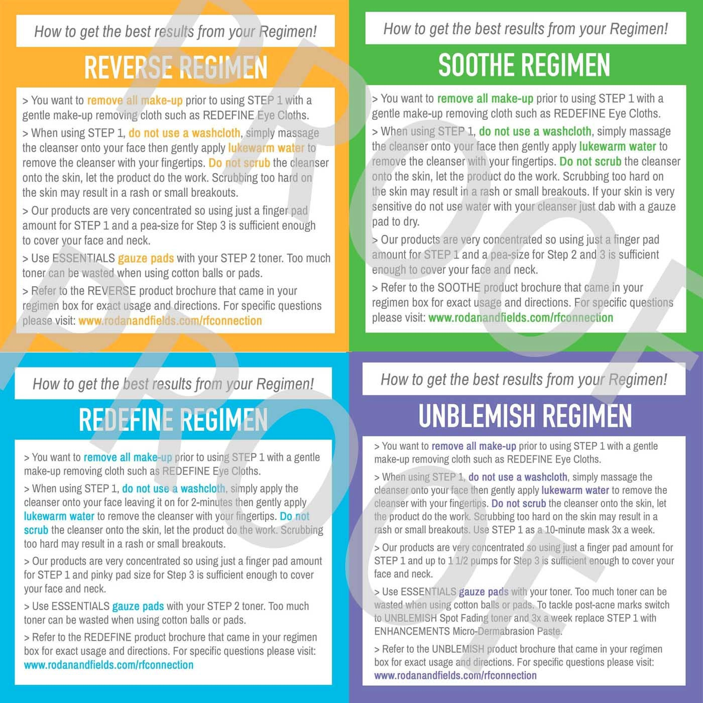 printed regimen tips cards for your skincare business