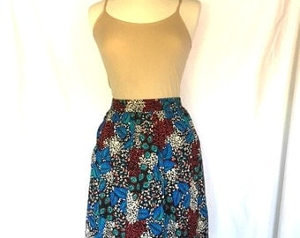 Vintage 80s BLUE Geometric FLORAL Skirt / Size Large - Extra Large