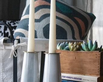 quartz brass candlesticks vintage mid century modern