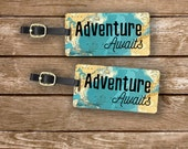 Luggage Tag Set Adventure Awaits Vintage Map Metal Luggage Tag Set With Custom Info On Back, 2 Tags Choice of Straps