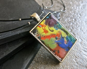 Hand Painted Abstract Fused Glass Pendant Necklace , APG Line