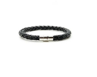 Black  Leather Bracelet , Magnetic Stainless Steel  Clasp , Black Bolo Leather