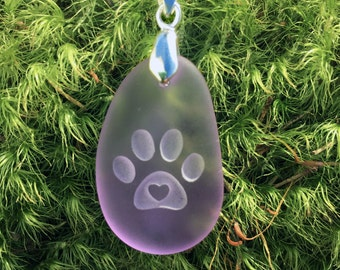 Kitten Love! Cat paw with 3D heart engraved Sea Glass pendant Jewelry- choose your color