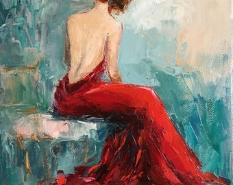 Print of an Original oil painting, woman in red dress, palette knife, impressionism, glamour art