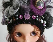 OOAK Blythe Doll Hat - Special Edition - Halloween -  Gnome Helmet for Blythe - Floral Collage -  Close to Midnight Blythe Halloween