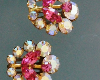 Vintage Rhinestone Earrings Pink Floral White Crystal Clip On Mid Century
