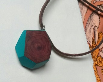 geometric wooden pendant necklace with turquoise border