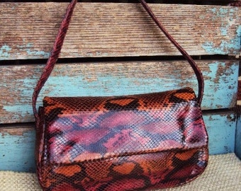 Vintage Mod Reptile Snakeskin Purse Handbag Frenchy Of California Fall Autumn Colors Brown Velvet Modernist Evening bag