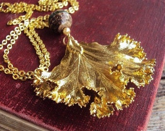 Vintage Gold Leaf Necklace Dipped Leaves Long Chain Large Pendant Natural Stone Beads Pearls Ruffles Ruffled Leaf Woodland Foliage