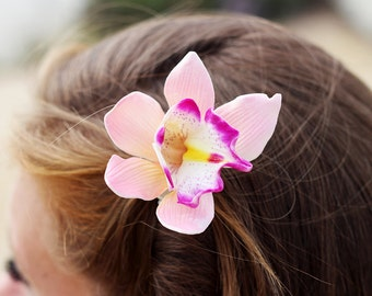 Pink Orchid Hair Clip, 3 Inch,  Orchid  Floral Hair Clip,   Wedding Hair Clip, Pink Orchid