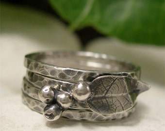 Rustic Silver Leaf & Berries 4 Ring Stack, Organic Sterling Silver Stacking Ring Set, Skinny Organic Hammered Ring Bands, Nature Jewelry