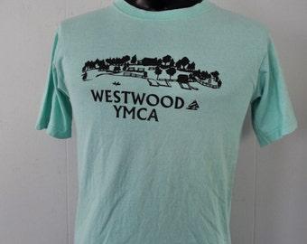 Vintage Tee Camp Westwood YMCA Rhode Island Coventry Light Teal Aqua Blue Green SMALL MEDIUM