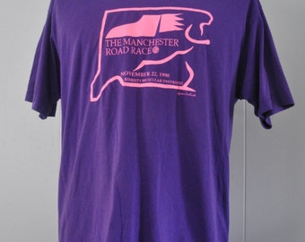 1990 Vintage Road Race Tshirt Manchester CT Running Sports Purple Neon Pink Hanes 5050 Beach Coverup Big Tall Long XL