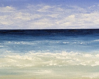 Seascape MINI Beach Painting Modern Ocean Painting Contemporary Beach Art Abstract Blue Cape Cod Modern Original Seascape