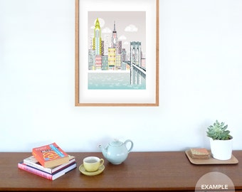 Large New York Wall Art, Brooklyn Bridge Skyline, American Cityscape, Skyline, City, Childs, Kids room and Nursery Decor, Style: SPPNYBB1