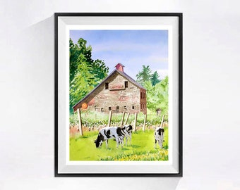 Old Red Barn Watercolor Prints Farm landscapes dairy cows vineyards Countryside landscape painting Barn animals Rural artwork A