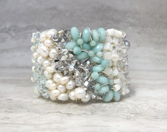 Bridal Cuff in Something Blue - Modern Wedding Jewelry by Sharona Nissan Limited time ON SALE