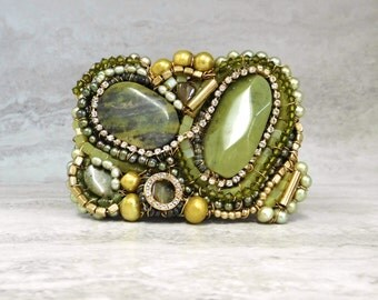 Large Olive Green Buckle with Semi Precious Jade Stones-Funky Asymmetrical Belt Buckle in Military Green Sharona Nissan