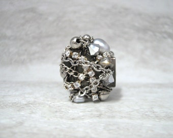 Wire Wrapped Ring with Silver Rhinestones & Chain  - Bling Jewelry (size 9)