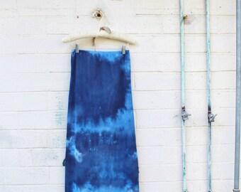 Small/Med Tie Dye Maxi Skirt/ Blue Maxi Skirt/Upcylced Clothing/Tye Dye Skirt/Music Festival Wear/Maxi Tye Dye Skirt/Blue Slip/Tie Dye Skirt