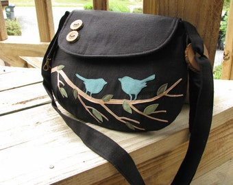 Birds on a Branch Handbag, Eco-friendly Bag, Black Canvas Tote, Vegan Purse, Messenger Bag, Shoulder Bag