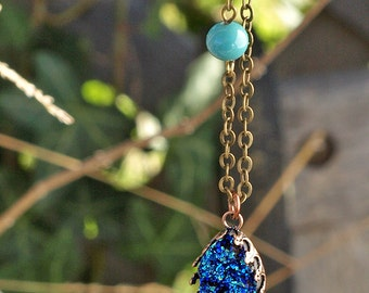 Faux Druzy Necklace, Blue Teal Resin Druzy with a Copper Crown Bezel, Antiqued Brass Chain, and Vintage Glass Beads, Bohemian