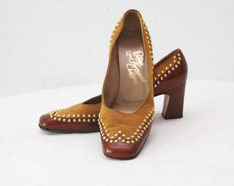 60s Rosina Ferragamo suede shoes. studded shoes. two tone suede heels - eur 37-37.5, uk 4-4.5, us 6.5-7