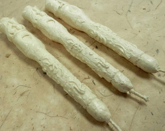 Natural Sealing Wax 3 sticks IVORY color with wick, ECO non-toxic, plastic-free, gift wrapped