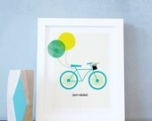 Bike Wall Art, Bicycle, Girls Bedroom, Flowers, Teal, Aqua, Personalized Print, Bicycle Poster, Kids Art Print. Custom Bike Ride Wall Art.