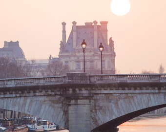 Paris Photograph - Sunrise over the Seine and Louvre, Paris in Mauve,  French Home Decor, Lamp Post, Large Wall Art